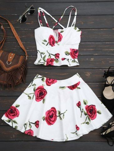 Two Piece DressFloral Bralet Crop Top and Mini Skirt